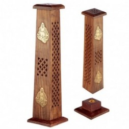 Buddha Sheesham Wood Incense Burner Tower