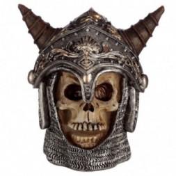 Skull in Medieval Horned Helmet Ornament