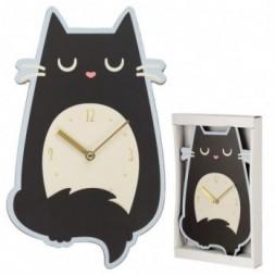 Feline Fine Cat Shaped Wall Clock