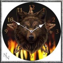 Wild Fire  Wolf and Pentagram Clock