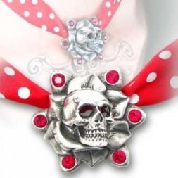 Skull Rose Pewter Choker