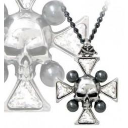 St John's Crystalbone Cross Pewter Pendant