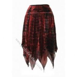 Red Tie Dye Zig Zag  Goth Skirt