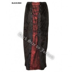 Long Black and Maroon Gothic Skirt