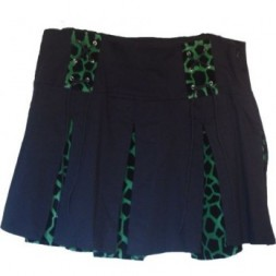Mini Skirt Cotton and Velvet  Goth Jaguar Print