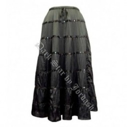 Black Sequined Satin  Goth Skirt