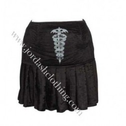 Black Printed  Goth Skirt
