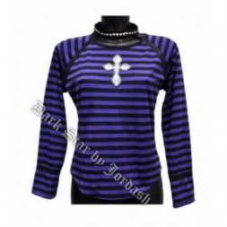 Stripe Goth Top with pyramid stud choker