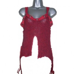 Red Knit Goth Top with frayed edges