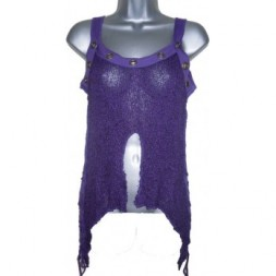 Purple Knit Goth top with frayed edges