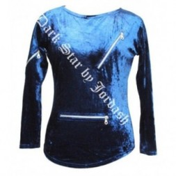Blue Velvet Zip  Goth Top