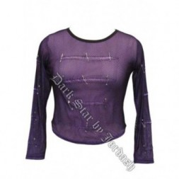 Stretch Net over Purple Fine Mesh Goth Top
