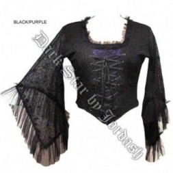 Black and Purple Stretch Cobweb Top  - M/L
