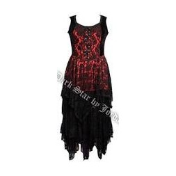 Sleeveless Black and Red Goth Long Dress in Velvet