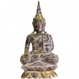 Bhumisparsha Mudra Buddha Wood Carved Statue