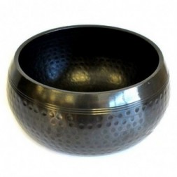Large Black Beaten Singing Bowl