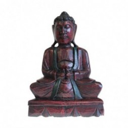 Dhyana Mudra Buddha Hand-Carved Wooden Statue