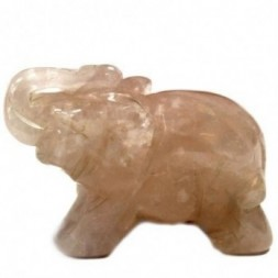 Elephant Rose Quartz Figurine