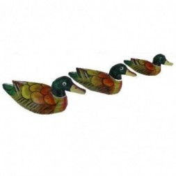 Ducks Set of Three Painted Wood Figurines