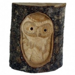 Carved Owl in Tree Trunk Figurine