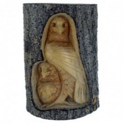 Eagles Carved Wood Tree Trunk Figurine