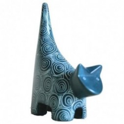 Cat Blue Soapstone Figurine