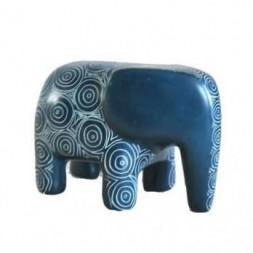 Elephant Blue Soapstone Figurine