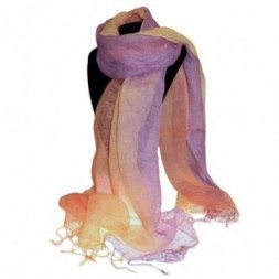 Peach and Purple Linen Scarf