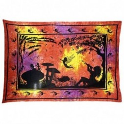 Red - Orange Fairy Under Tree Bedspread - Wall Art