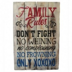 Rough Wooden Sign - Family Rules