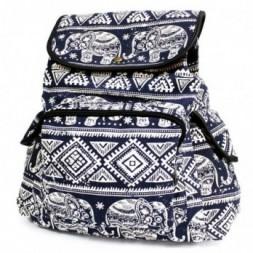 Traveller Backpack - Patterned Blue Elephant