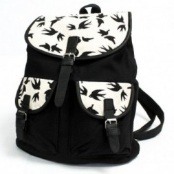 Traveller Backpack -  Black Swallows
