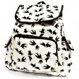 Traveller Backpack - White with Black Swallows