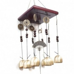 Feng Shui Chimes - Square 8 Bells and Fan