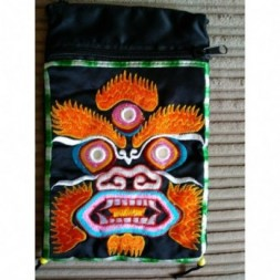 Buddhist Mahakala Silk Embroided Green Trim Bag