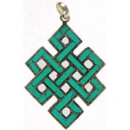 Endless Knot Inlay Silver Pendant