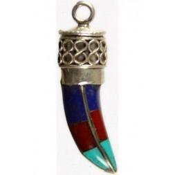 Claw multi-colour inlay Silver Pendant