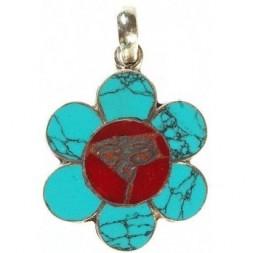 Buddha Eye Coral Inlay Silver Pendant