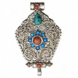 Coral and Turquoise  Gemstones Silver Gau Ghau Box