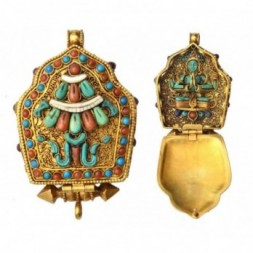 Chenrezig  Avalokiteshvara Gemstone Silver Gau Ghau