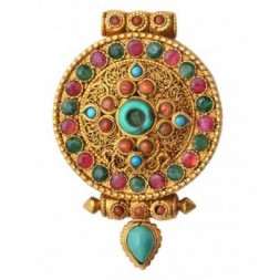 Ashtamangala Dharma Gemstone Silver Gau Ghau