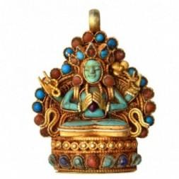 Chenrezig Gemstone Silver Pendant