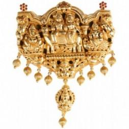Chunky Shiva-parivar Silver Gold Filigree Pendant