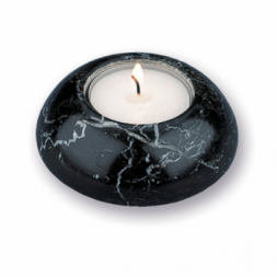 Black Marble Tealight Candle Holder Round