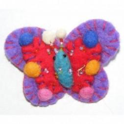 Hand Embellished Felt Butterfly Brooch