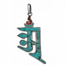 OM Aum Gemstone Inlay  Nepalese Pendant
