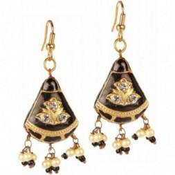 Black Earrings Golden Accent