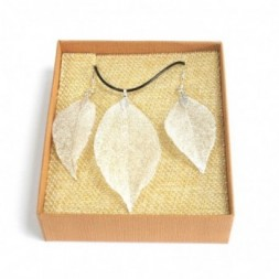 Necklace and Earring Set - Bravery Leaf - Silver