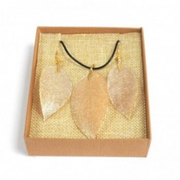 Necklace and Earring Set - Bravery Leaf - Gold