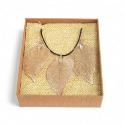 Necklace and Earring Set - Bravery Leaf - Pink Gold
